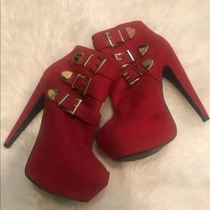 Shi by Journey, Red Platform Ankle Booties
